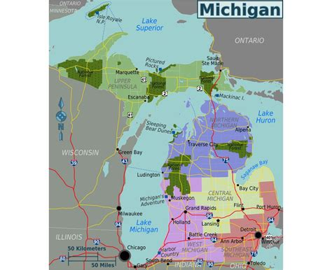 michigan map of usa maps of michigan state collection of detailed maps of
