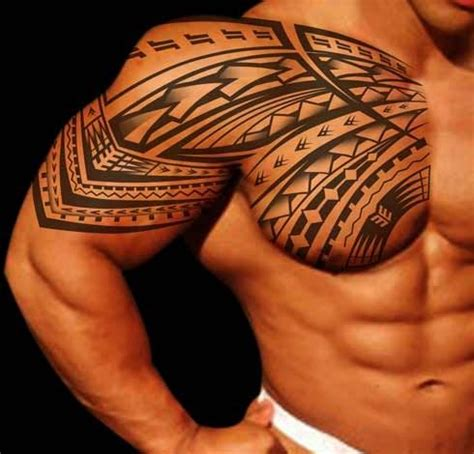 tribal chest and half sleeve tattoo right chest and half sleeve tribal