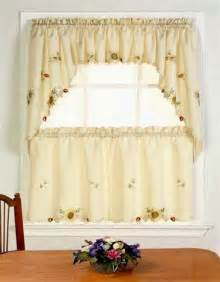 Discount Kitchen Curtains Embroidered Sunflower Tiers Swags Discount Kitchen Curtains With Fancy Hem Cafe Tier Curtains
