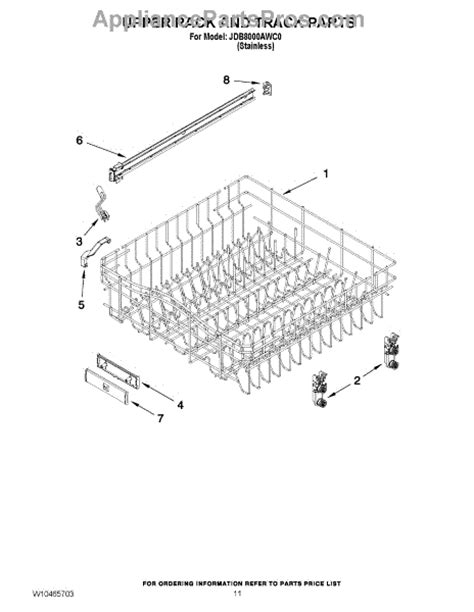 Jenn Air Dishwasher Replacement Racks by Parts For Jenn Air Jdb8000awc0 Rack And Track Parts Appliancepartspros