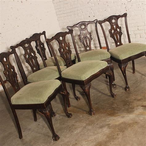 sold antique chippendale dining side chairs set