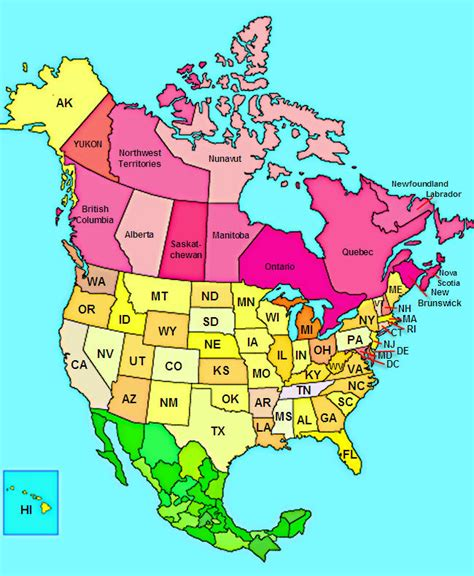 map of usa and canada with states and cities map of us states and canadian provinces 28 images