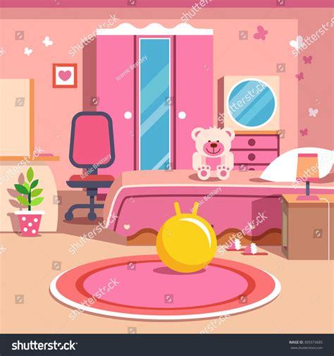 cartoon girls bedroom girls all pink bedroom interior flat stock vector