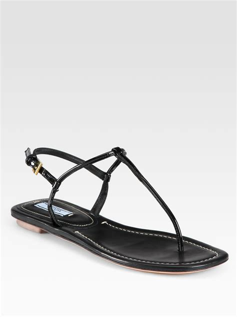 Patent Leather Sandals by Lyst Prada Patent Leather Sandals In Black