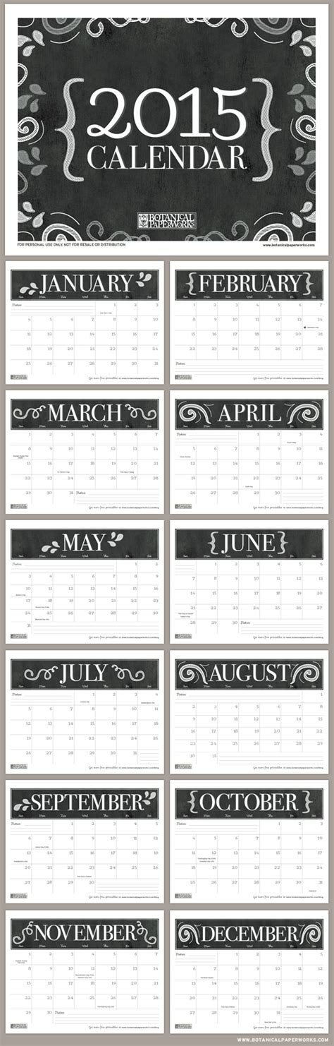 free printable month planner 2015 free printable 2015 monthly calendar blog botanical
