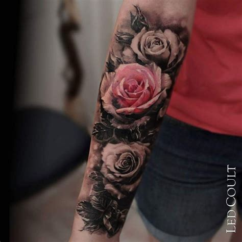 real looking rose tattoo beautiful looking colored forearm of realistic