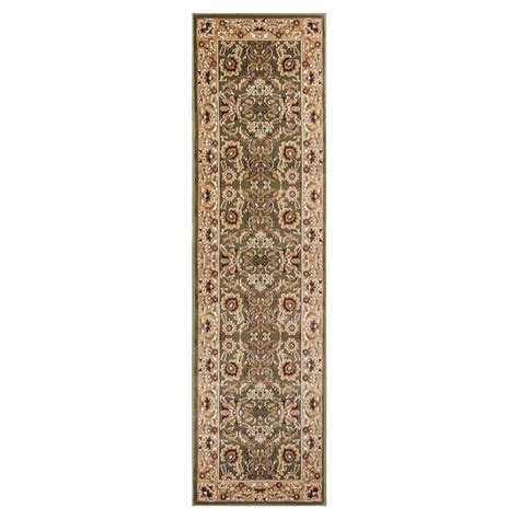 kas rugs classic kashan green taupe 2 ft 2 in x 7 ft 11