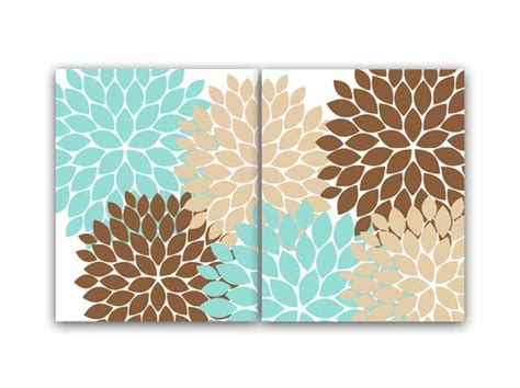 brown and teal bathroom decor home decor wall art teal and brown flower burst art