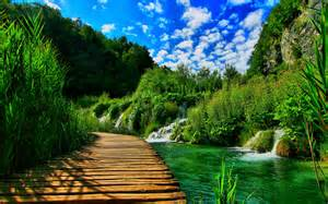 wooden pontoon bridge nature landscape hd wallpapers wallpapers13