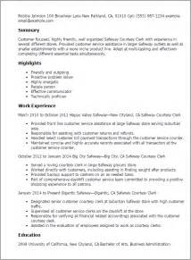 Courtesy Clerk Resume by Professional Safeway Courtesy Clerk Templates To Showcase