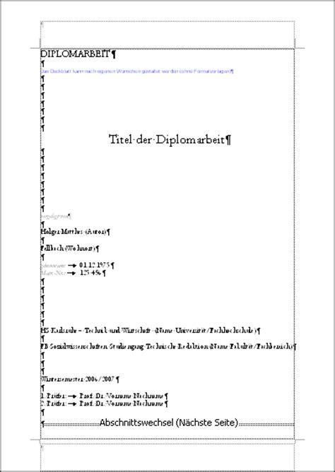 Vorlage Word Diplomarbeit Beschreibung Der Struktur Diplom Reader Holger Matthes