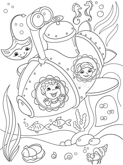 underwater world printable coloring pages children exploring the underwater world in a submarine