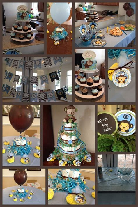 Monkey Boy Baby Shower Decorations by Monkey Boy Baby Shower Theme Blue Green Brown