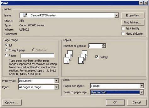 setting ukuran   printer canon ip
