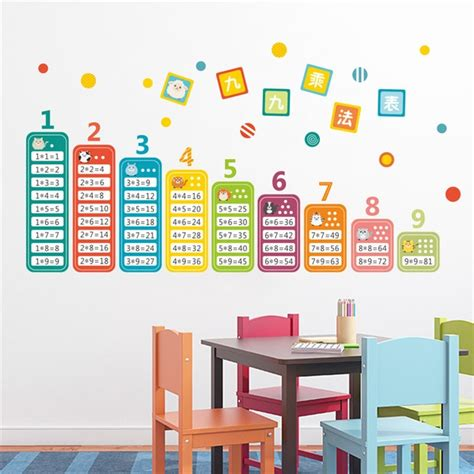 table for children s room children 99 multiplication table math wall stickers