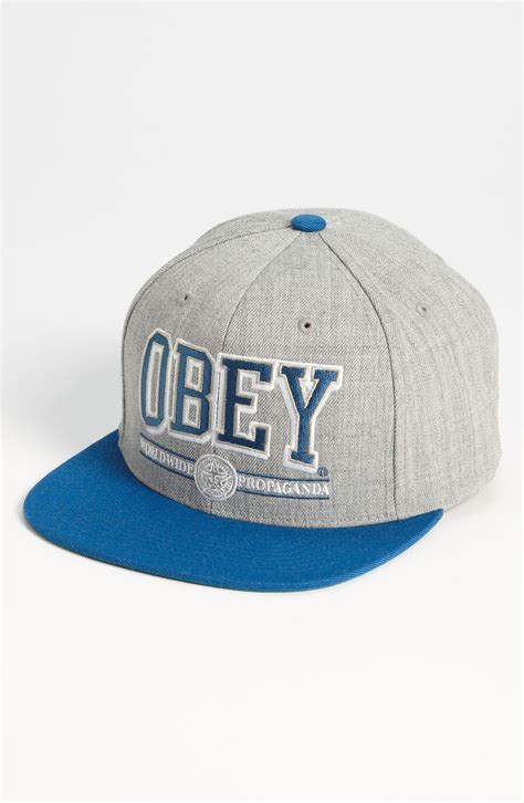 obey athletics baseball cap in blue for light grey