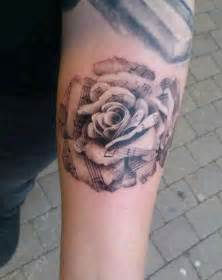 black grey rose tattoo with music notes tats of course
