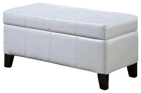 White Storage Bench Seat Modus Seating Leatherette Storage Bench White