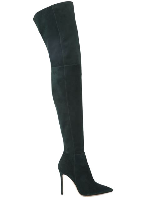gianvito 100mm suede the knee boots in green lyst