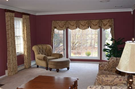 window treatments for bay window in living room new bay window treatment traditional living room new york by a j interiors llc