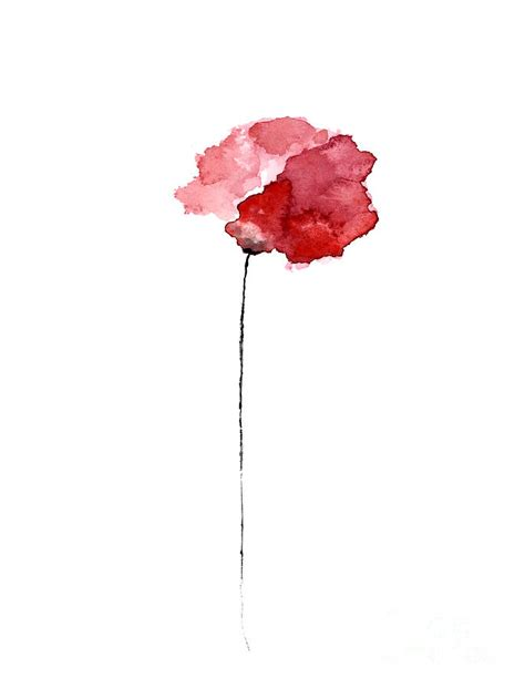 red poppy watercolor minimalist painting painting by
