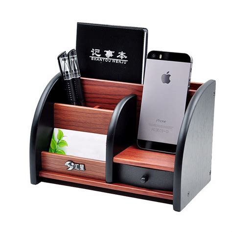 Desk Pen Organizer Wooden High Grade Multifunctional Desk Stationery Organizer Storage Box Pen Pencil Box Jewelry