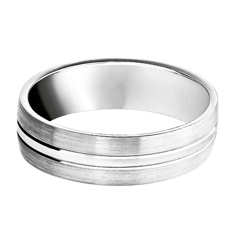 palladium 950 6mm brushed polished wedding ring