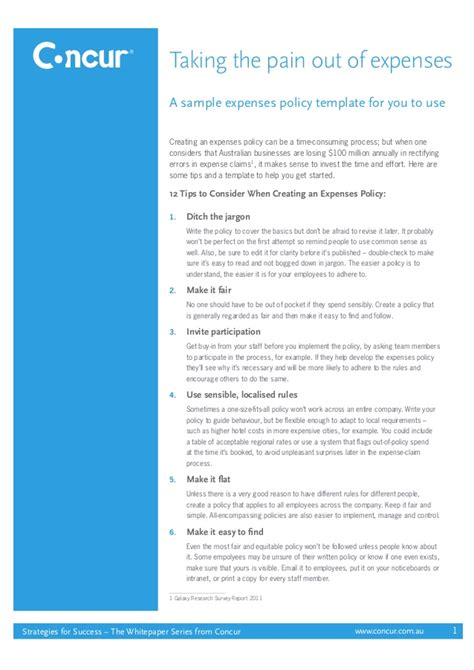 Expenses Policy Template a sle expenses policy template