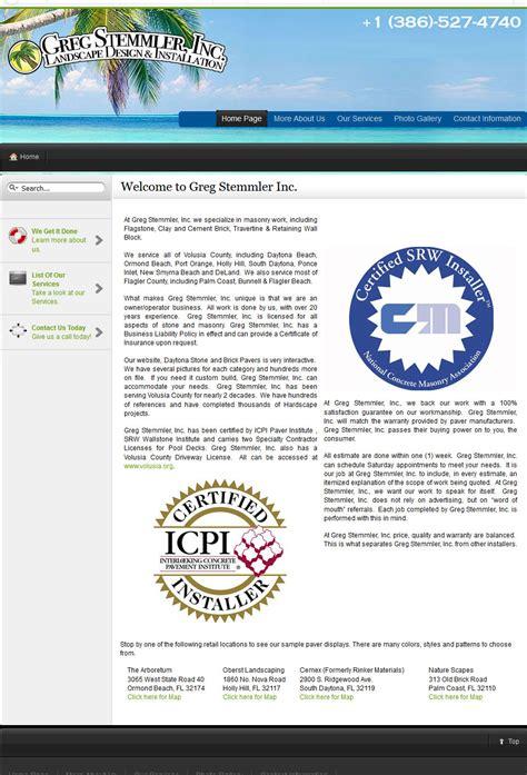 web design masonry layout daytona stone and brick pavers website design website
