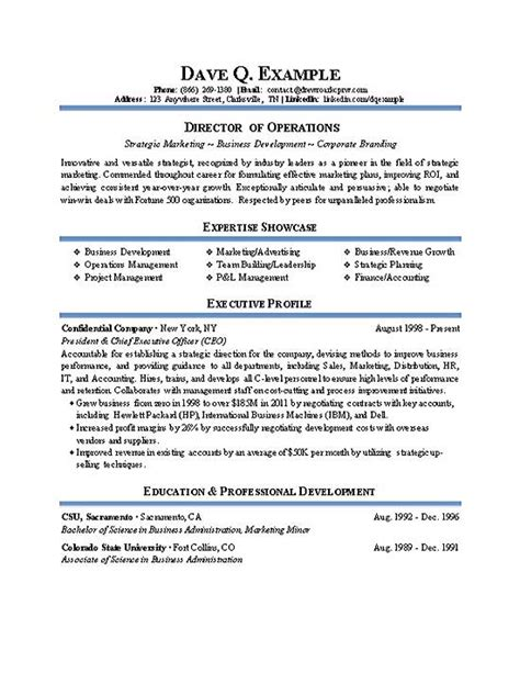 Director Resume Director Of Operations Resume Sle Recentresumes