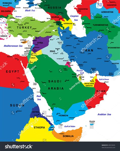europe middle east vector map middle east political map my