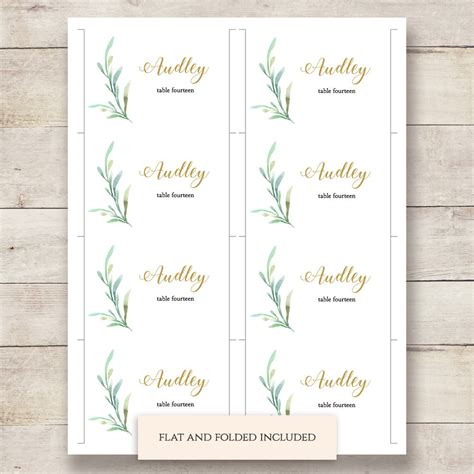 greenery wedding table place card template flat and