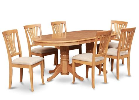 Wooden Dining Table Chairs 7pc Oval Dinette Kitchen Dining Room Set Table With 6 Upholstery Chairs In Oak Oval Dining