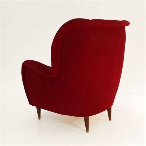 red velvet armchair italian red velvet armchair 1950s at 1stdibs