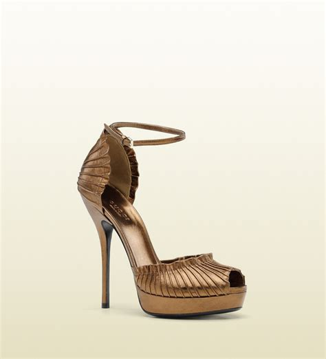 gucci high heel platform sandal with ankle in