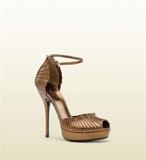 bronze gold sandals gucci high heel platform sandal with ankle in