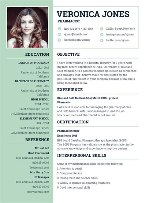 Pharmacist Resume Format by 7 Pharmacist Curriculum Vitae Templates Free Word Pdf