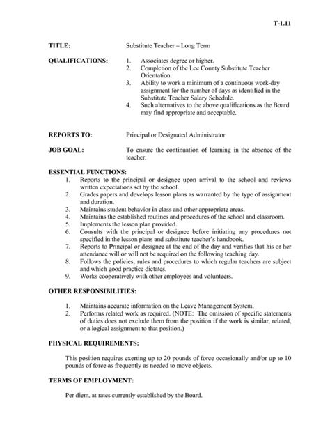 Introduction Letter Term Substitute substitute cover letter exles no experience
