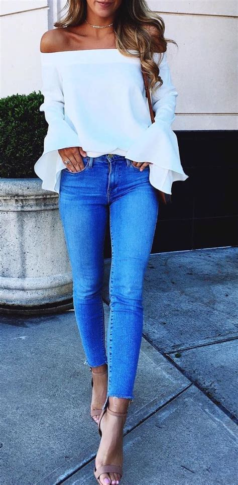 first date outfits for 50 year olds white ruffle off the shoulder top and skinny step hem