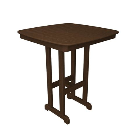Plastic Bar Table Shop Polywood Nautical 36 75 In W X 36 75 In L Square Plastic Bar Table At Lowes