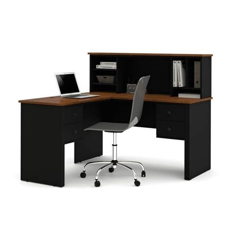 Black L Shaped Desks Bestar Somerville L Shaped Desk With Hutch In Black And Tuscany Brown 45850 18