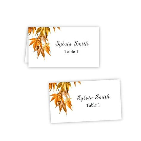 printable fall place cards template fall leaves 2 folded table tent flat place card