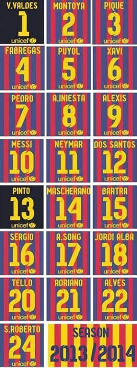 barcelona number barcelona 2013 players s numbers football pinterest
