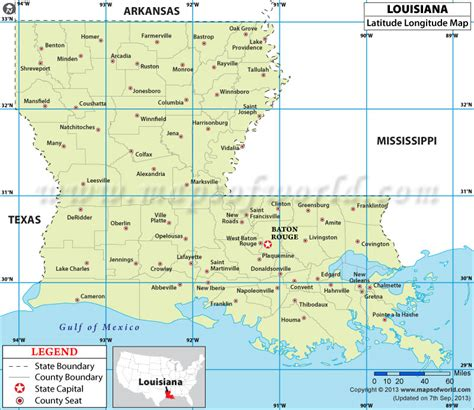 louisiana map usa louisiana latitude and longitude map