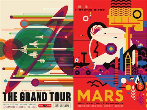 nasa design poster grand tour of the solar system mars retro futuristic