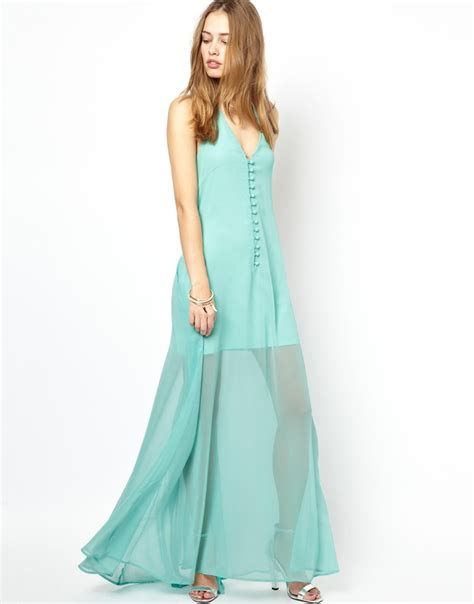 jarlo halter maxi dress with sheer skirt in blue