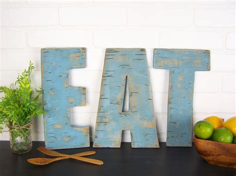 Kitchen Items With 5 Letters Rustic Eat Sign Wooden Eat Letters Kitchen Sign Farmhouse