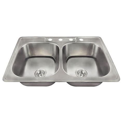 Polaris Sinks Drop In Stainless Steel 33 In 4 Hole Double Drop In Kitchen Sinks Stainless Steel