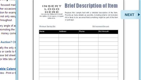silent auction templates free search results calendar 2015