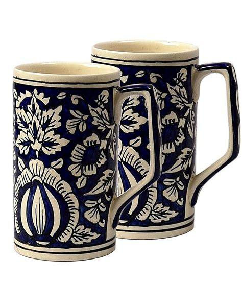 Handcrafted Pottery Mugs - craftghar blue pottery vintage handmade ceramic mugs 2